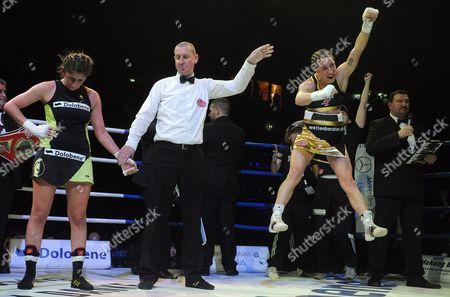 Lucia Morelli (r) From Italy Jubilates After Winning Against Lebanese Born German Boxer Rola El-halabi (l) in a Lightweight Worldchampionship Fight in Neu Ulm Germany 12 January 2013 Germany Neu-ulm