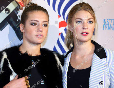 Actresses French Adele Exarchopoulos (l)áand Belgian Mona Walravens Arrive For the Movie Premiere 'Blue is the Warmest Colour' by Director Kechiche at the Cinema Paris in Berlin Germany 08 December 2013 Germany Berlin