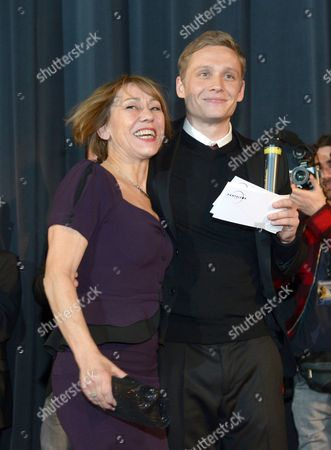 Actor Matthias Schweighoefer Poses with His Mother Gitta Schweighoefer During the Premiere of 'Vaterfreuden' (fatherhood) in Munich Germany 29 January 2014 the Movie Will Be Released on 06 February Germany Munich