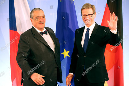 German Foreign Minister Guido Westerwelle (r) Meets with Czech Foreign Minister Karel Schwarzenberg (l) at the Foreign Office in Berlin Germany 14 May 2013 Germany Berlin