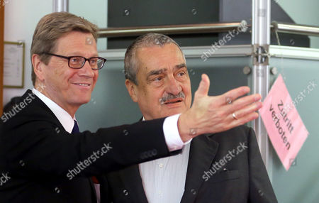 German Foreign Minister Guido Westerwelle (l) Meets with Czech Foreign Minister Karel Schwarzenberg (r) at the Foreign Office in Berlin Germany 14 May 2013 Germany Berlin