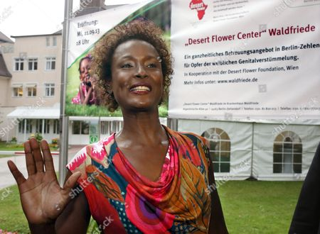 Waris Dirie Somalian Author of the Bestseller 'Forest Flower' and Activist Against Female Genital Mutilation Arrives at the Opening of the Desert Flower Medical Centre of Which She is a Patron at Hospital Waldfriede in Berlin Germany 11 September 2013 the Centre is the First Hospital in Europe That Treats Women with Female Gentical Cutting Psychologically and Surgically Germany Berlin