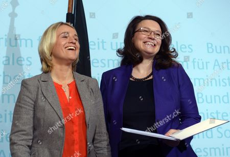The New Disability Officer of the German Government the Visually Impaired Former Athlete Verena Bentele (l) and German Minister of Labour and Social Affairs Andrea Nahles Pose As Bentele is Sworn in at the Federal Ministry of Labour and Social Affairs in Berlin Germany 16 January 2014 Germany Berlin