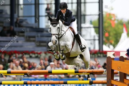 Greece's Athina Onassis De Miranda on Her Horse Ad Camille Z Competes During the Prize of Europe Show Jumping Event at the International Horse Show Chio in Aachen Germany 26 June 2013 Germany Aachen