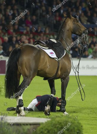 British Tina Fletcher Reacts After Falling During the Nations Cup Event at the International Horse Show Chio in Aachen Germany 27 June 2013 Germany Aachen