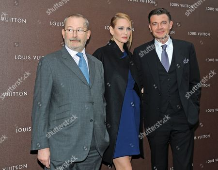 (l-r) Patrick-louis Vuitton Us Actress Uma Thurman and Benoit-louis Vuitton Pose at the Opening of a New Store of the French Fashion Label Louis Vuitton in Munich Germany 23 April 2013 Germany Munich
