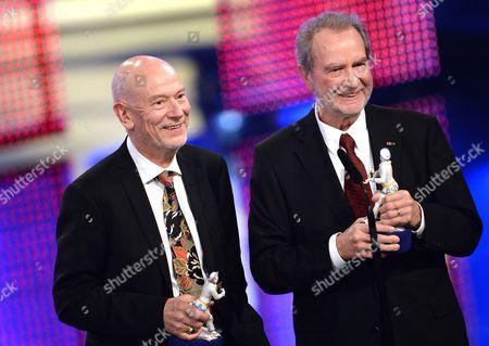 German Filmmaker Edgar Reitz (r) and Compatriot Screenwriter Gert Heidenreich (l) Receive the Bavarian Film Prize For 'Best Screenplay' in Munich Germany 17 January 2014 the Bavarian Film Prize is One of the Most Prestigious Ones in German Cinema Industry Germany Munich