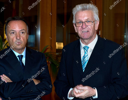 Germany Federal Minister and Minister President of Baden-wuerttemberg Winfried Kretschmann (r) and the President of the French Senate Jean-pierre Bel (l) Attend the Evening Reception of the Franco- German Agreement Anniversary Celebrations in Berlin Germany 22 January 2013 They Are Meeting For the 50th Anniversary Celebrations of the Signing of the Elysee Treaty of 22 January 1963 Germany Berlin