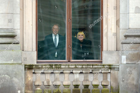 Departing Chairperson of Alliance 90/the Greens Claudia Roth (r) and Former Green Parliamentary Party Chairman Juergen Trittin (l) Stands at a Window of the Parliamentary Society Before the Second Round of Exploratory Talks Between the Greens and the Cdu/csu in Berlin Germany 15 October 2013 Germany Berlin
