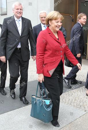 Bavaria's Premier Horst Seehofer (l) (csu) German Transport Minister Peter Ramsauer (csu) German Chancellor Angela Merkel (cdu) and Chancellery Minister Roland Pofalla (cdu) Leave After the Third Round of Coalition Talks Between Cdu/csu and Spd in Berlin Germany 17 October 2013 Germany Berlin
