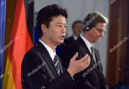 German Foreign Minister Guido Westerwelle (r) and His Japanese Counterpart Koichiro Gemba Hold a Press Conference at the Foreign Office in Berlin Germany 19 October 2012 Germany Berlin