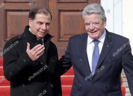 German President Joachim Gauck (r) Receives Maltese President George Abela at Bellevue Palace in Berlin Germany 11 March 2014 Germany Berlin