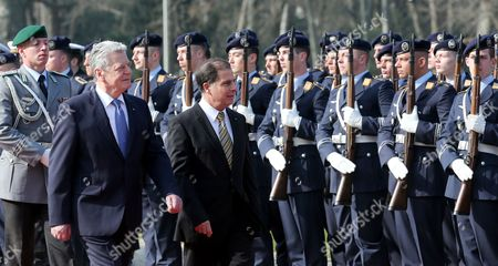 German President Joachim Gauck (c) Receives Maltese President George Abela (r) with Military Honors at Bellevue Palace in Berlin Germany 11 March 2014 George Abela is on an Official Visit to Germany Germany Berlin