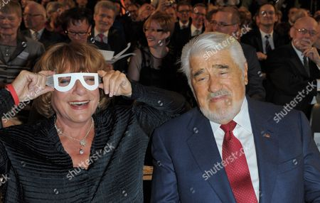 German Actors Hannelore Hoger (l) and Mario Adorf (r) Joke Around As They Attend the Awarding Ceremony For the 'Deutschen Hörfilmpreis' (lit : German Audio Movie Award) in Berlin 27 March 2012 a Total of Ten Movies and Two Projects Have Been Nominated For the Award Honoring Movies with Audio Description For Visually-impaired Viewers Germany Berlin
