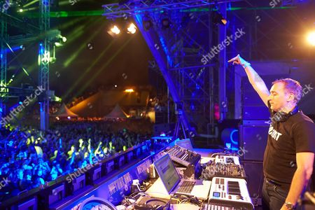 German Dj Paul Van Dyk Gestures to the Crowd of Ravers During His Stage Performance at the Open-air Techno Festival Nature One Held on the Former Us Cruise Missile Base Pydna in Kastellaun Germany Early 04 August 2013 Germany Kastellaun