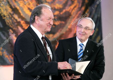 Austrian Conductor Nikolaus Harnoncourt (l) Receives the Romano Guardini Price 2012 From the Director of the Catholic Academy in Bavaria Florian Schuller (r) in Munich Germany 10 May 2012 the Catholic Academy in Bavaria Honored Harnoncourt's Work As a 'Music Theorist and Philosopher Thinker and Interpreter of the World' Germany Munich