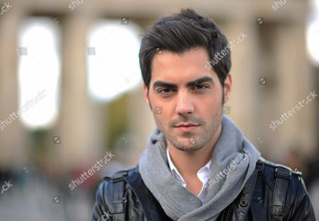 Montenegrin Classical Guitarist Milos Karadaglic Poses For the Camera at the Brandenburg Gate in Berlin Germany 14 October 2012 the Musician is One of the Awardees of the Echo Klassik Music Award Which is Awarded on the Same Day Germany Berlin