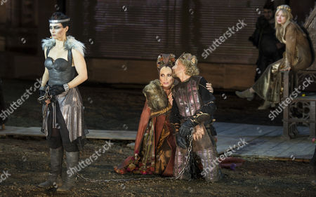 Stock Picture of The Picture Made Available on 04 July 2013 Shows Kathrin Von Steinburg As Brunhild (l-r) Susanne Uhlen As Ute Bernd Michael Lade As Gunther and Cosma Shiva Hagen As Kriemhild Acting During a Rehearsal of the Play 'Hebbel's Nibelungs - Born to Die' During the Annual Nibelung Festival in Worms Germany 02 July the Stage Version of the Nibelung Saga by German Dramatist Friedrich Hebbel (1813-1863) Will Be Performed in Front of the Imperial Cathedral in Worms From 05 Until 21 July Germany Worms