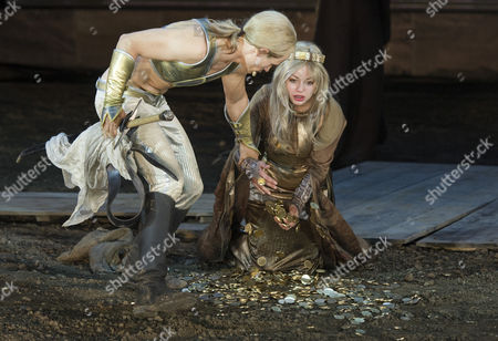 Stock Photo of The Picture Made Available on 04 July 2013 Shows Actor Vinzenz Kiefer (l) As Siegfried and Actress Cosma Shiva Hagen (r) As Kriemhild Acting During a Rehearsal of the Play 'Hebbel's Nibelungs - Born to Die' During the Annual Nibelung Festival in Worms Germany 02 July the Stage Version of the Nibelung Saga by German Dramatist Friedrich Hebbel (1813-1863) Will Be Performed in Front of the Imperial Cathedral in Worms From 05 Until 21 July Germany Worms