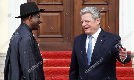 German President Joachim Gauck (r) Welcomes the President of Nigeria Goodluck Ebele Jonathan (l) at the Bellevue Palace in Berlin Germany 20 April 2012 the Nigerian President was Greeted with Military Honours by German Chancellor Angela Merkel on 19 April For a Visit to Germany For Several Days Germany Berlin