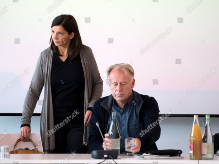 Former Top Candidates of the Party Alliance 90/the Greens Katrin Goering-eckard (l) and Juergen Trittin (r) Attend a Meeting of Federal Board Council and State Chairpeople of the Party in Berlin Germany 27 September 2013 the Politicians Met to Discuss Options For a Coalition Government Germany Berlin