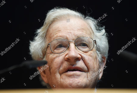 Us Linguist and Philisopher Noam Chomsky Speaks During a Lecture at the Center For Art and Media Technology (zkm) in Karlsruhe Germany 30 May 2014 Germany Karlsruhe