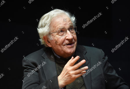 Stock Photo of Us Linguist and Philisopher Noam Chomsky Speaks During a Lecture at the Center For Art and Media Technology (zkm) in Karlsruhe Germany 30 May 2014 Germany Karlsruhe