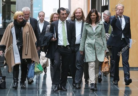 (l-r) Outgong Chairperson of the Greens Claudia Roth Premier of Baden-wuerttemberg Windfried Kretschmann Party Chairman Cem Ozdemir Co-chairpersons of the Bundestag Faction Anton Hofreiter and Katrin Goering-eckhardt and Former Bundestag Faction Chairman Juergen Trittin Arrive For Exploratory Talks in Berlin Germany 15 October 2013 the Greens Hold Exploratory Talks on Formation of a Coalition with the Christian Democrats (cdu) Chancellor Merkel's Ruling Party Missed an Absolute Majority in the Recent Federal Elections and Now Seeks to Form a Coalition Either with the Greens of the Social Democrats (spd) Germany Berlin