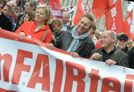 The Head of the 'Die Linke' Faction Gregor Gysi (r-l) and Party Members Klaus Ernst and Gesine Loetzsch Take Part in a Demonstration As Part of the Germany-wide Action Day Under the Motto 'Fair Share - Tax on Wealth' at the Potsdamer Platz in Berlin Germany 29 September 2012 the Organisation Attac Work Unions and Social Organisations Had Called For a Protest Day Central Demands Are Among Others a Permanent Tax on Wealth and a One-time Concession Tax As Well As Effective Methods Against Tax Evasion Germany Berlin