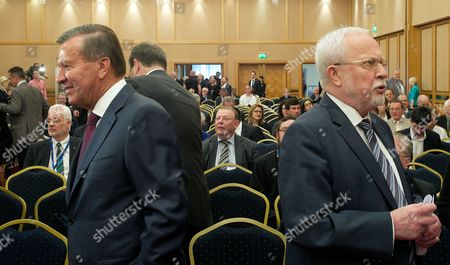 Stock Photo of The Chairmen of the Steering Committees of the Petersburg Dialogue Gazprom Supervisory Board Chairman Victor Subkov (l) From Russia and Lothar De Maiziere (r) From Germany Look at Opposite Directions at the Start of the 'Petersburg Dialogue' in Leipzig Germany 23 April 2014 the Motto of This Years Petersburg Dialogue is 'Dialogue is Proven Crisis Management ' Germany Leipzig