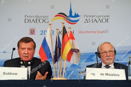 The Two Co-chairman of the Petersburg Dialogue Wiktor Subkow (l) and Lothar De Maiziere Speak to Journalists in Kassel Germany 04 December 2013 the 13th Petersburg Dialogue Discussion Forum Focussed on Russian-german Relationships Germany Kassel