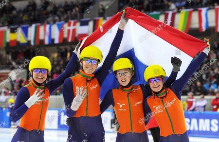 Dutch (l-r) Sanne Van Kerkhof Jorien Ter Mors Lara Van Ruijven and Yara Van Kerkhof Celebrate After Winning the Women's Team Competition of the Short Track European Championship in Dresden Germany 19 January 2014 Germany Dresden