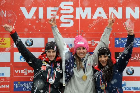 Noelle Pikus-pace (c) of the Usa Celebrates on the Podium After Winning the Women's Skeleton World Cup in Koenigssee Near Berchtesgaden Germany 24 January 2014 Pikus-pace Won Ahead of Second Placed Janine Flock (l) of Austria and Third Placed Shelley Rudman (r) of Britain Germany Koenigssee