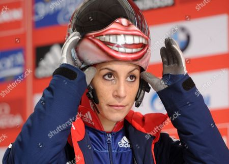 British Skeleton Racer Shelley Rudman Prepares For Her Run During a Pratice Session For the Women's Skeleton World Cup in Koenigssee Germany 23 January 2014 Germany Koenigssee