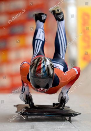 British Skeleton Athlete Shelley Rudman Takes Off on the Track During the Skeleton World Cup at Koenigssee Near Berchtesgaden Germany 24 January 2014 Germany Koenigssee