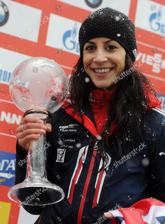 British Skeleton Driver Shelley Rudman Holds Her Trophy After the Skeleton World Cup at Koenigssee Near Berchtesgaden Germany 24 January 2014 Rudman Came in Third During the Race and Third For the Overall World Cup Germany Koenigssee
