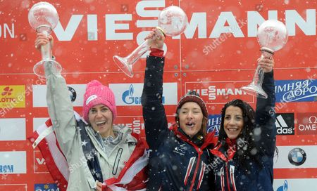 Skeleton Drivers Usa's Noelle Pikus-pace (l-r) British Elizabeth Yarnold and Shelley Rudman Hold Their Trophies After the Skeleton World Cup at Koenigssee Near Berchtesgaden Germany 24 January 2014 Yarnold Came in First Overal Pikus-pace Second and Rudman Third Germany Koenigssee