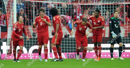 Munich's Franck Ribery (2-l-r) Javier Martinez Dante Bastian Schweinsteiger and David Alaba Celebrate the 1-0 Goal Next to Hannover's Goalkeeper Ron-robert Zieler During the German Bundesliga Match Between Fc Bayern Munich and Hannover 96 at Allianz Arena in Munich Germany 24 November 2012 (attention: Embargo Conditions! the Dfl Permits the Further Utilisation of Up to 15 Pictures Only (no Sequntial Pictures Or Video-similar Series of Pictures Allowed) Via the Internet and Online Media During the Match (including Halftime) Taken From Inside the Stadium And/or Prior to the Start of the Match the Dfl Permits the Unrestricted Transmission of Digitised Recordings During the Match Exclusively For Internal Editorial Processing Only (e G Via Picture Picture Databases) Germany Munich