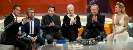 Italian-born Host Markus Lanz (l-r) Chats with the Guests Former Abba Member Bjorn Ulvaeus German Comedian Michael Bully Herbig German Singer Ina Mueller German Actor Wolfgang Stumph and Swiss Tv Host Michelle Hunziker During the Tv Show 'Wetten Dass ?' in Augsburg Germany 14 December 2013 Germany Augsburg