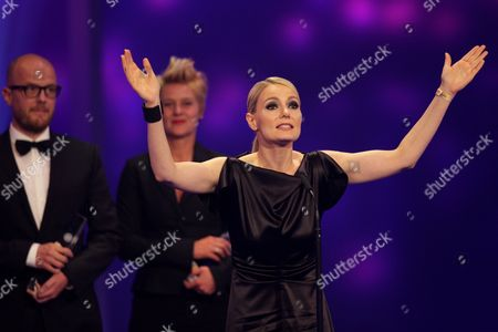 Actress Martina Hill Acknowledges the Award For 'Best Comedy' Onstage During the German Television Awards Ceremony at the Coloneum in Cologne Germany 02 October 2012 Germany Cologne