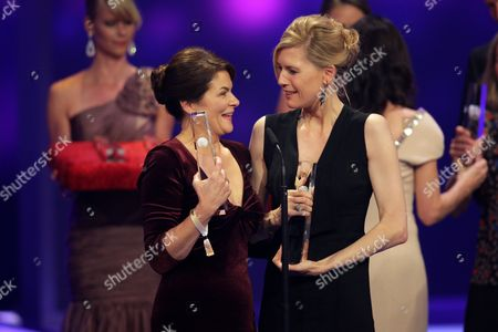 Actresses Barbara Auer (l) and Ina Weisse Hold Their Awards For 'Television Movie' Onstage During the German Television Awards Ceremony at the Coloneum in Cologne Germany 02 October 2012 Germany Cologne
