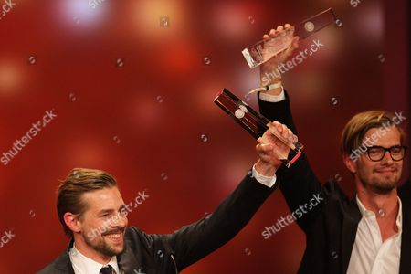 Presenters Klaas Heufer-umlauf (l) and Joko Winterscheidt Hold Up Their Award For 'Special Performance Entertainment' Onstage During the German Television Awards Ceremony at the Coloneum in Cologne Germany 02 October 2012 Germany Cologne