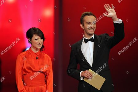 Hosts Charlotte Roche (l) Und Jan Boehmermann (r) Onstage During the German Television Awards Ceremony at the Coloneum in Cologne Germany 02 October 2012 Germany Cologne