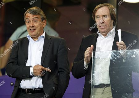 Stock Picture of Wolfgang Niersbach (l) President of the German Football Association (dfb) and Former German International Guenther Netzer (r) Attend the Uefa Under 21 European Championship Soccer Match Between Germany and Spain in Netanya Israel 09 June 2013 Israel Netanya