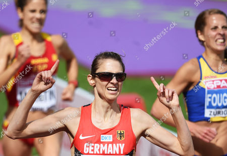 Stock Picture of Antje Moeldner-schmidt (c) of Germany Reacts Winning the Women's 3000m Steeplechase Final at the European Athletics Championships 2014 in the Letzigrund Stadium in Zurich Switzerland 17 August 2014 Switzerland Schweiz Suisse Zurich