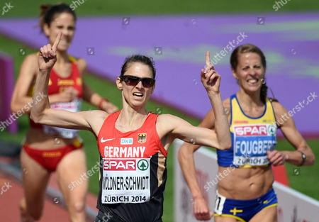 Stock Photo of Antje Moeldner-schmidt (c) of Germany Reacts Winning the Women's 3000m Steeplechase Final at the European Athletics Championships 2014 in the Letzigrund Stadium in Zurich Switzerland 17 August 2014 Switzerland Schweiz Suisse Zurich