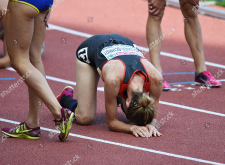 Stock Image of Antje Moeldner-schmidt of Germany Reacts Winning the Women's 3000m Steeplechase Final at the European Athletics Championships 2014 in the Letzigrund Stadium in Zurich Switzerland 17 August 2014 Switzerland Schweiz Suisse Zurich