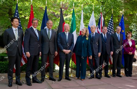 G8 Foreign Ministers Koichiro Gemba Japna; Guido Westerwelle Germany; Sergei Lavrov Russia; William Hague Britain; Hillary Clinton Usa; Alain Juppe France; John Russel Baird Canada; Giulio Terzi Di Sant Agata Italy and Eu Foreign Policy High Representative Catherine Ashton Pose For a Group Photo After the G8 Meeting of Foreign Ministers in Washington Dc Usa 11 April 2012 the Foreign Ministers of the G8 Countries Discussed the State of the Middle East and North Korea United States Washington