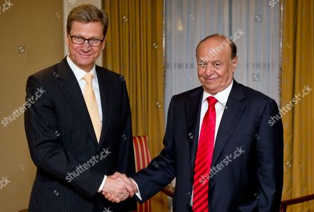 German Foreign Minister Guido Westerwelle (l) Meets Yemeni President Abd Rabbuh Mansur Al-hadi in New York Usa 27 September 2012 Westerwelle is in New York From 21 Till 28 September 2012 For the 67th United Nations General Assembly United States New York