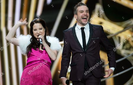 Singers Bianca Nicholas and Alex Larke of Duo 'Electro Velvet' Representing United Kingdom Perform During Rehearsals For the Grand Final of the 60th Annual Eurovision Song Contest (esc) at the Wiener Stadthalle in Vienna Austria 20 May 2015 the Event's Grand Final Takes Place on 23 May Austria Vienna